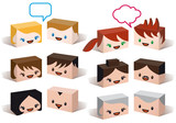3D avatar heads, vector people icon set