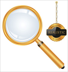 Realistic golden magnifying glass