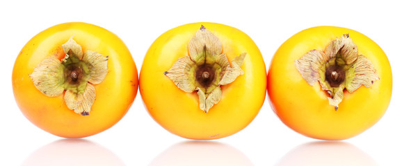 Three appetizing persimmons in line isolated on white