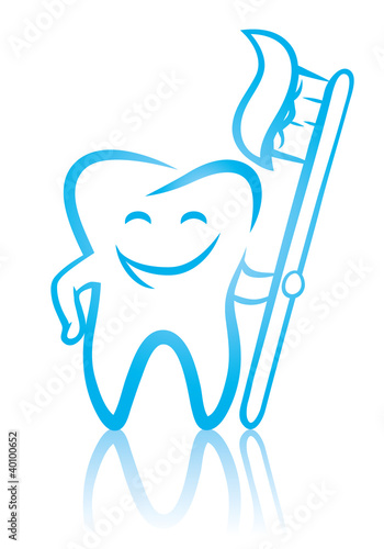 Smiling dental tooth with toothbrush