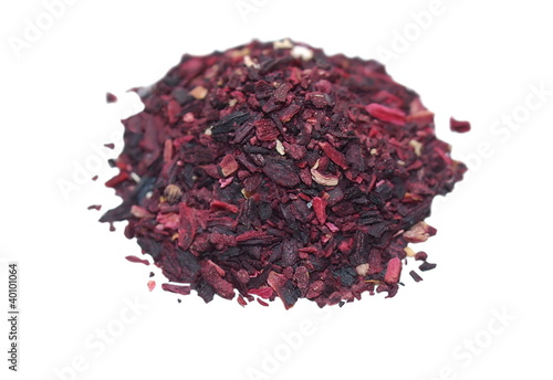 Pile of Hibiscus tea isolated on white background