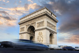 Paris, Famous Arc de Triumph at evening , France