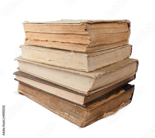 Old books isolated in white