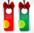 Card notes with ribbons. Red and green invitations
