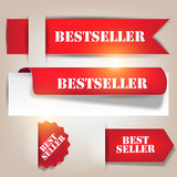 Bestseller. Red banners and labels. Vector set