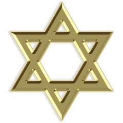 Silhueta dourada da estrela de David