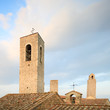 San Gimignano, old roof and towers. Tuscany, Italy, Europe.