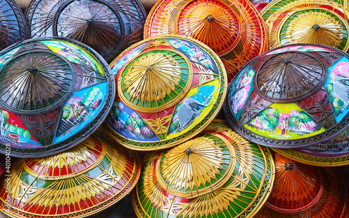 colorful rice straw hats