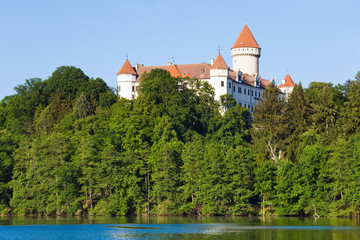 Konopiste Castle in Czech Republic and pond