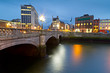O'Connell street bridge in Dublin at night, Ireland