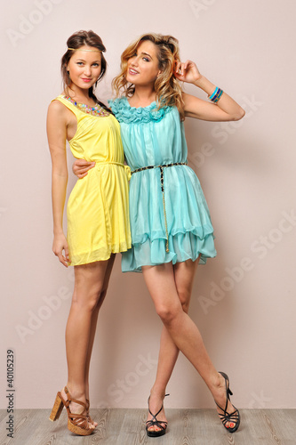 Two beautiful women in summer dresses.