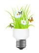 Light bulb with grass