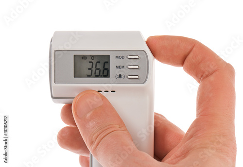 Modern infra-red digital thermometer with hand isolated on white