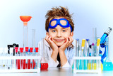 boy in laboratory