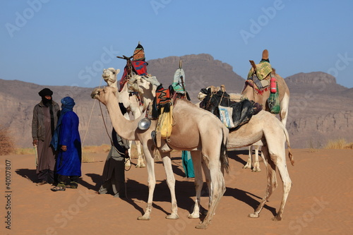 Staande foto Algerije Karawane in der Sahara