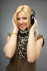 Beautiful blonde with headphones