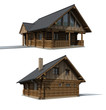 Wood cabine, two perspectives on the cottage house