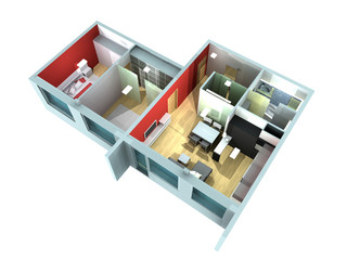 Rendering of a roofless model showing an apartment interior