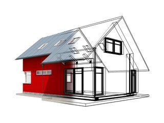 Semitransparent 3d render of house with black project lines