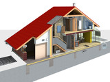 Detailed rendering of a traditional house in the section