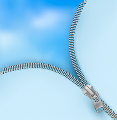 Background with zipper and cloudy sky. Vector.