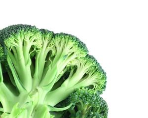 Broccoli in corner on white