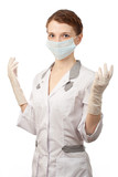 Nurse with sterile gloves and medical mask poster