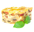 Home-baked hot Lasagne with fresh Basil / isolated on white