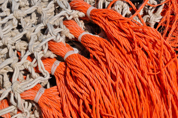 Closeup of fishing nets in a Dutch fishing port