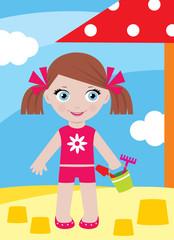 Little girl in a sandbox with a bucket