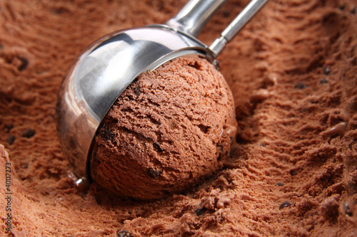 Poster Chocolate ice cream scoop