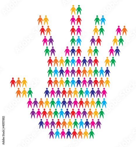 hand with people background, abstract vector illustration