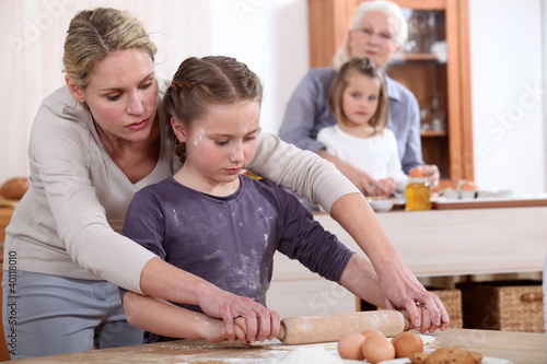Little girls baking