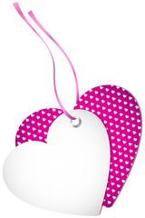 Hangtag 2 Hearts Hearts Pink Bow