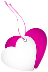 Hangtag 2 Hearts Pink Bow