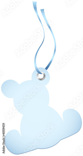 Hangtags Beige Blue Teddy Blue Bow