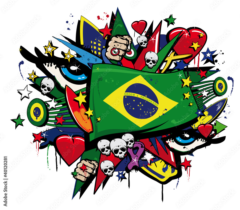 brazil flag graffiti brazilian pop art carnival illustration wall brazil flag graffiti brazilian pop art carnival illustration wall sticker