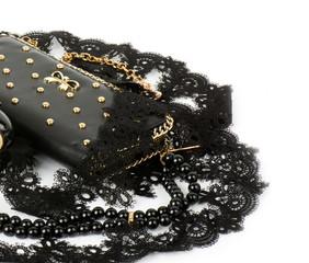 Sexy fashionable handbag and beads