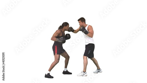 Two men sparring together with gloves in slow motion