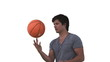 Man spinning a basketball in slow motion