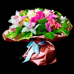 bouquet of lilias,  roses and chrysanthemum