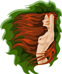 Nude woman with long dark hair