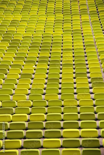 A pattern of seats in a sport stadium