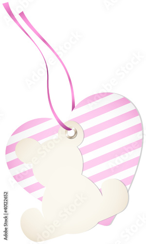 Hangtag Teddy & Heart Stripes Pink Bow