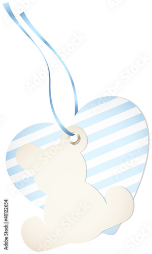 Hangtag Teddy & Heart Stripes Blue Bow