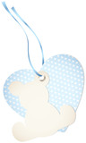 Hangtag Teddy & Heart Hearts Blue Bow