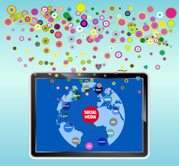 social media concept tablet PC, vector illustration