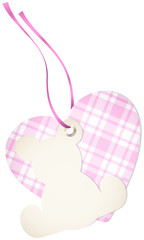 Hangtag Teddy & Heart Check Pink Bow