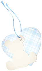 Hangtag Teddy & Heart Check Blue Bow