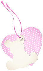 Hangtag Teddy & Heart Hearts Pink Bow